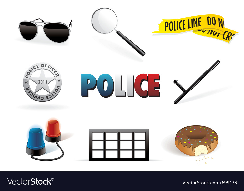 Police order icon set vector | Price: 1 Credit (USD $1)