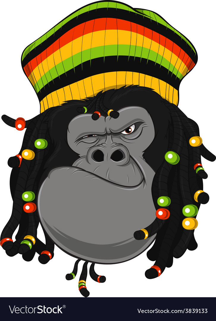 Rastafarian monkey vector