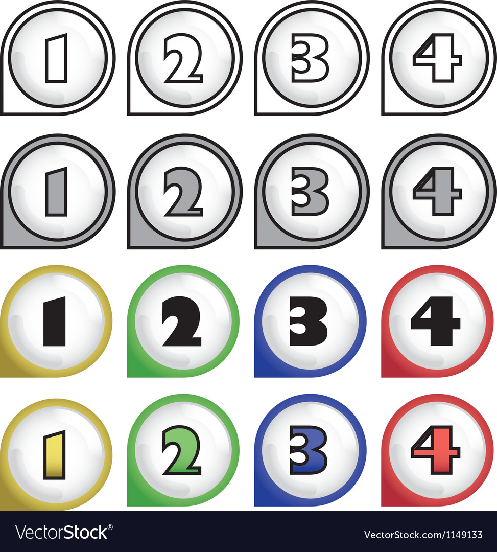 Rounded multicolor pointers with numbers  vector