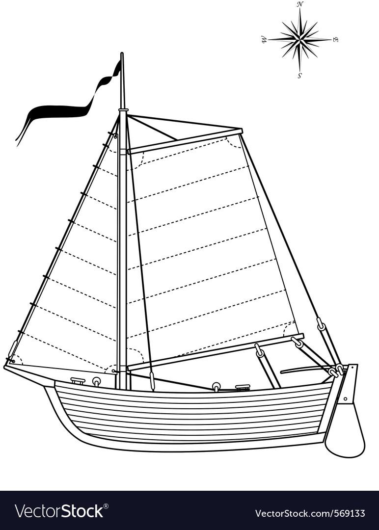 Sailing vintage boat vector   Price: 1 Credit (USD $1)