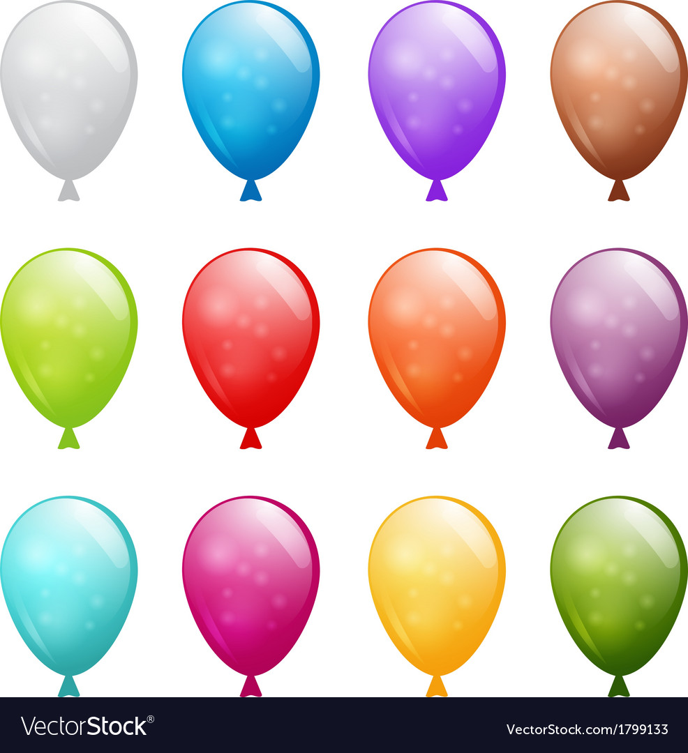 Set of shiny balloons vector | Price: 1 Credit (USD $1)