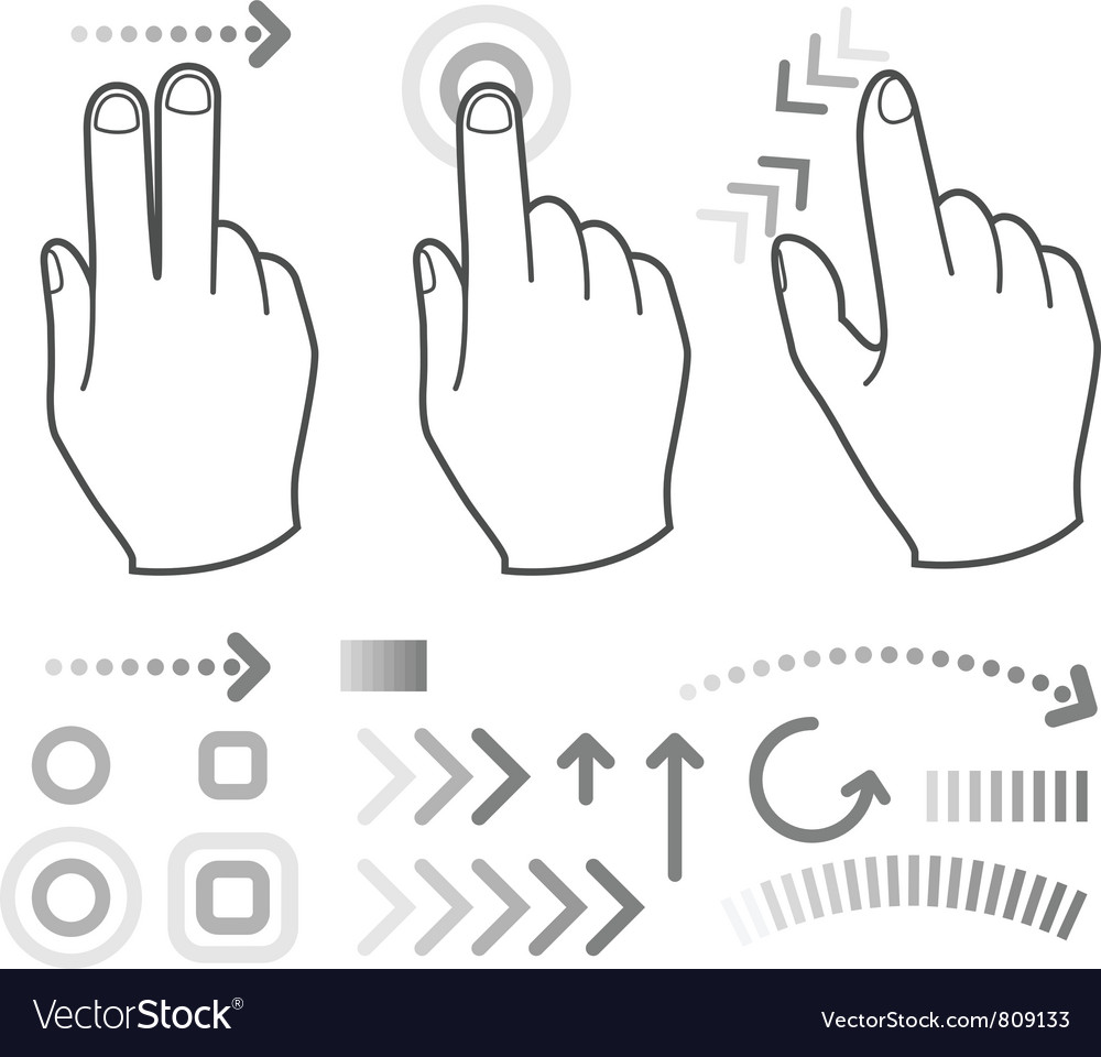 Touch screen gesture hand signs vector | Price: 1 Credit (USD $1)