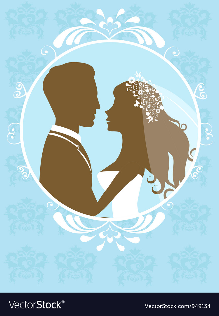 Bride and groom in frame vector | Price: 1 Credit (USD $1)