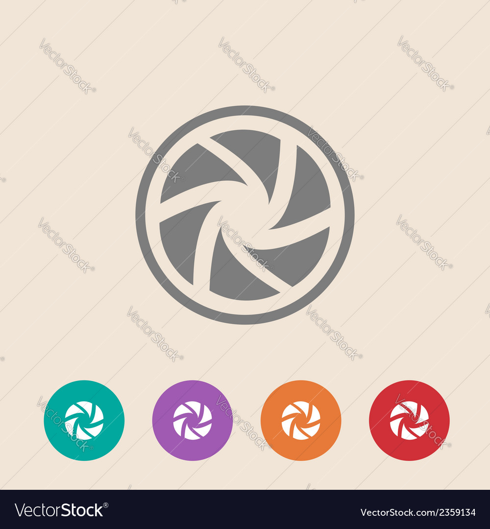 Flat camera shutter icon vector | Price: 1 Credit (USD $1)