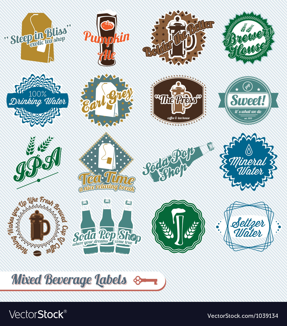 Mixed collection of beverages labels vector | Price: 1 Credit (USD $1)