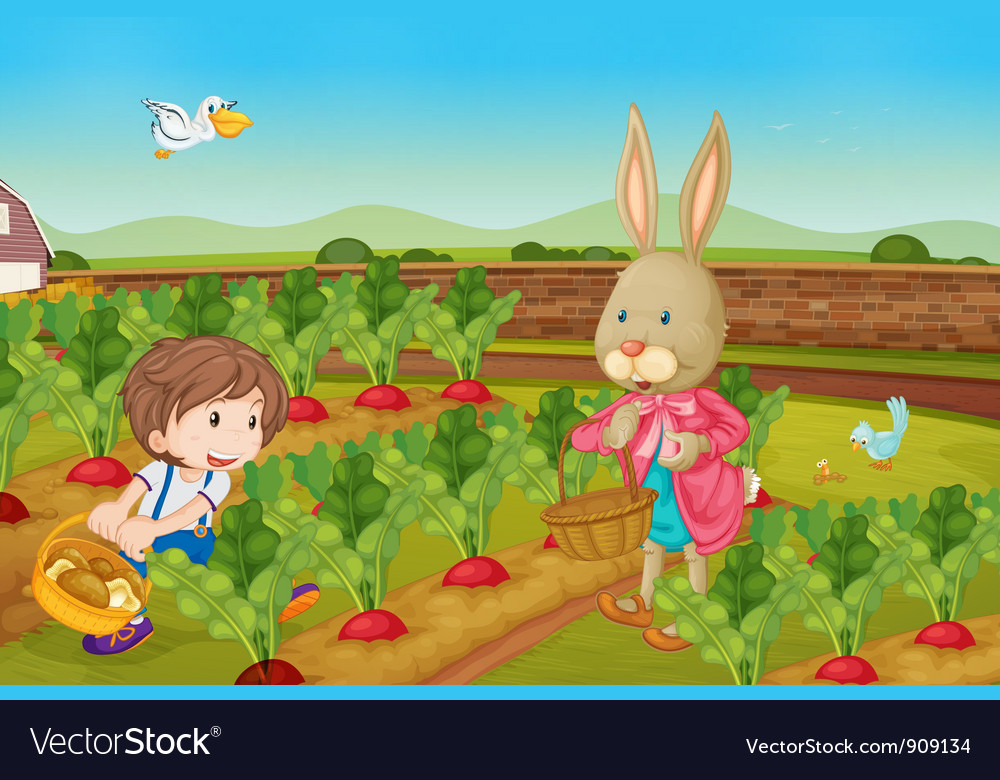 Rabbit picking veggies vector | Price: 3 Credit (USD $3)