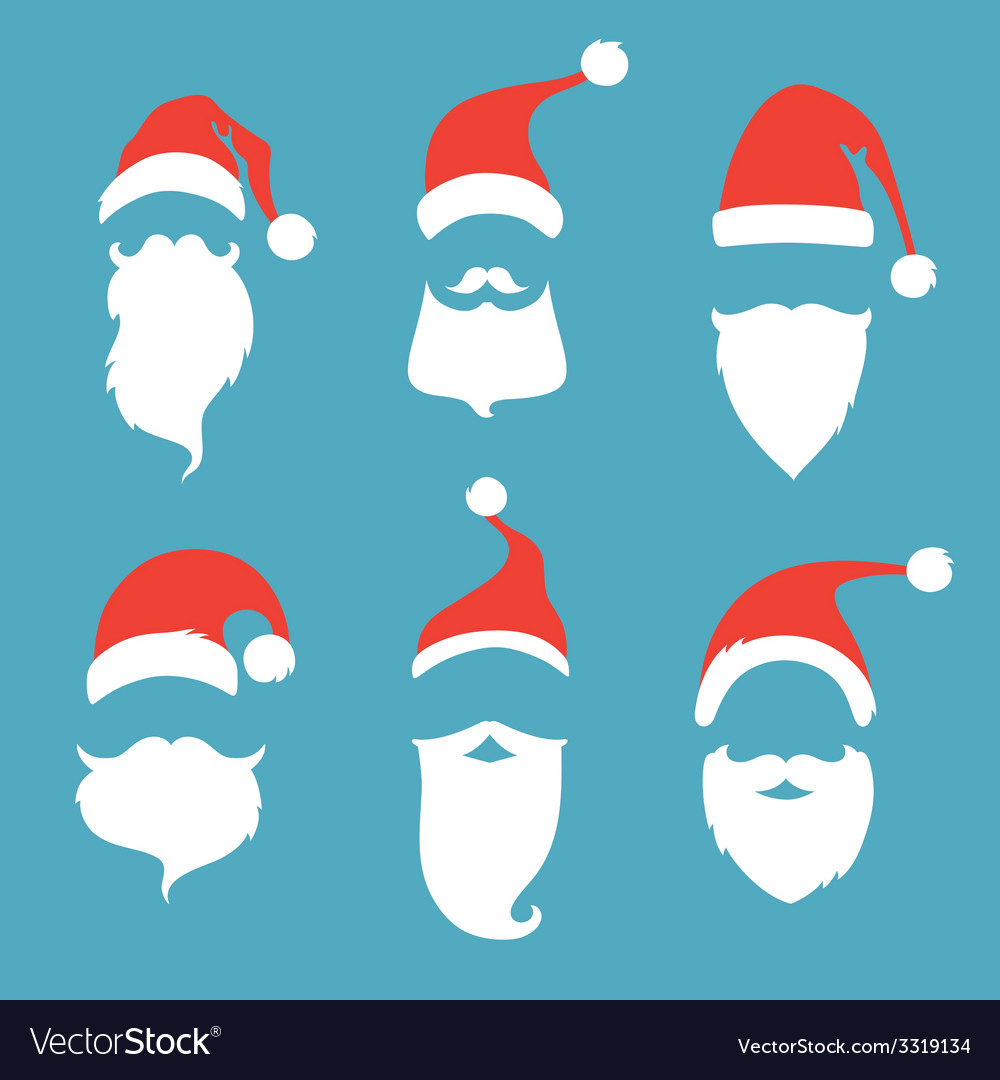 Santa hats moustache and beards vector | Price: 1 Credit (USD $1)