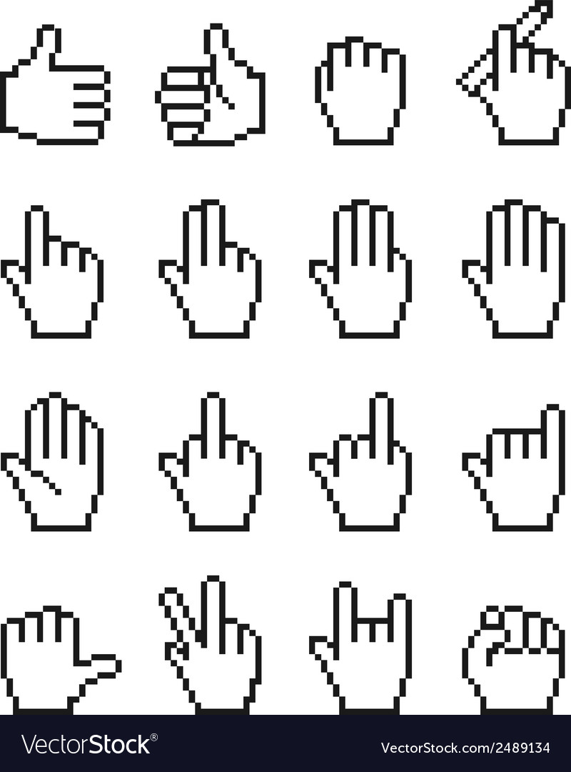 Set of unusual pixelated hand icons vector | Price: 1 Credit (USD $1)