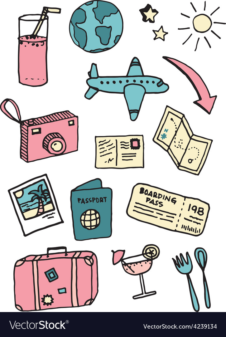 Travel and vacation doodles vector | Price: 1 Credit (USD $1)