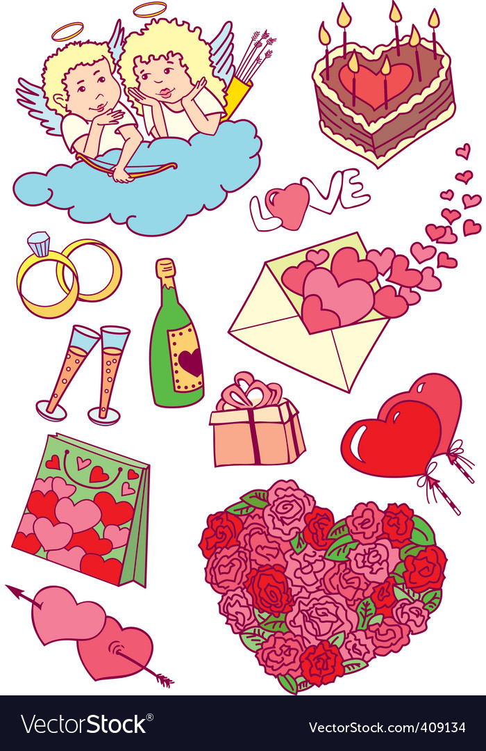Valentines doodles vector | Price: 3 Credit (USD $3)