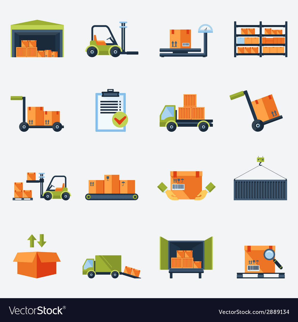 Warehouse icons flat vector | Price: 1 Credit (USD $1)
