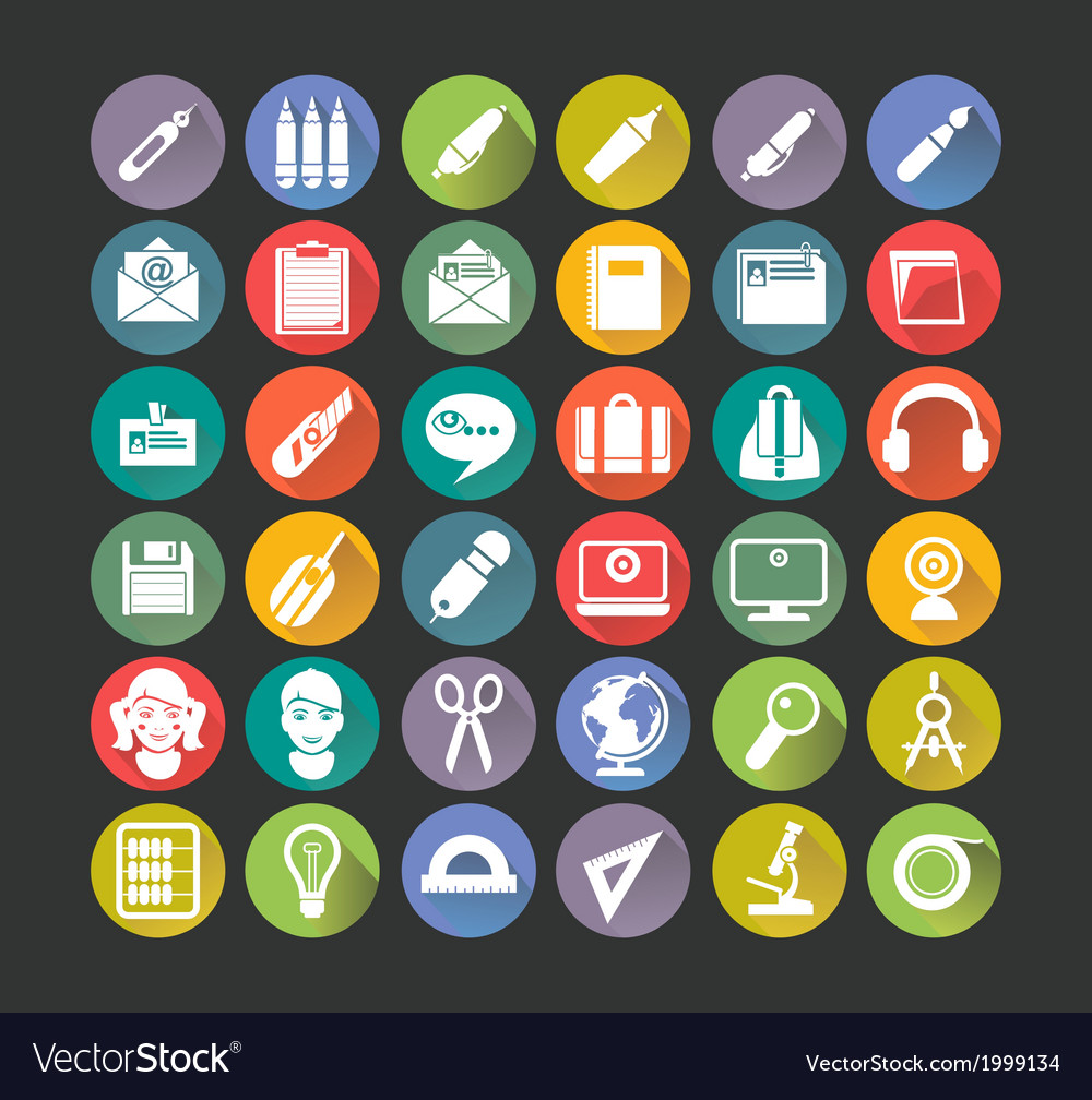 White icons education vector | Price: 1 Credit (USD $1)