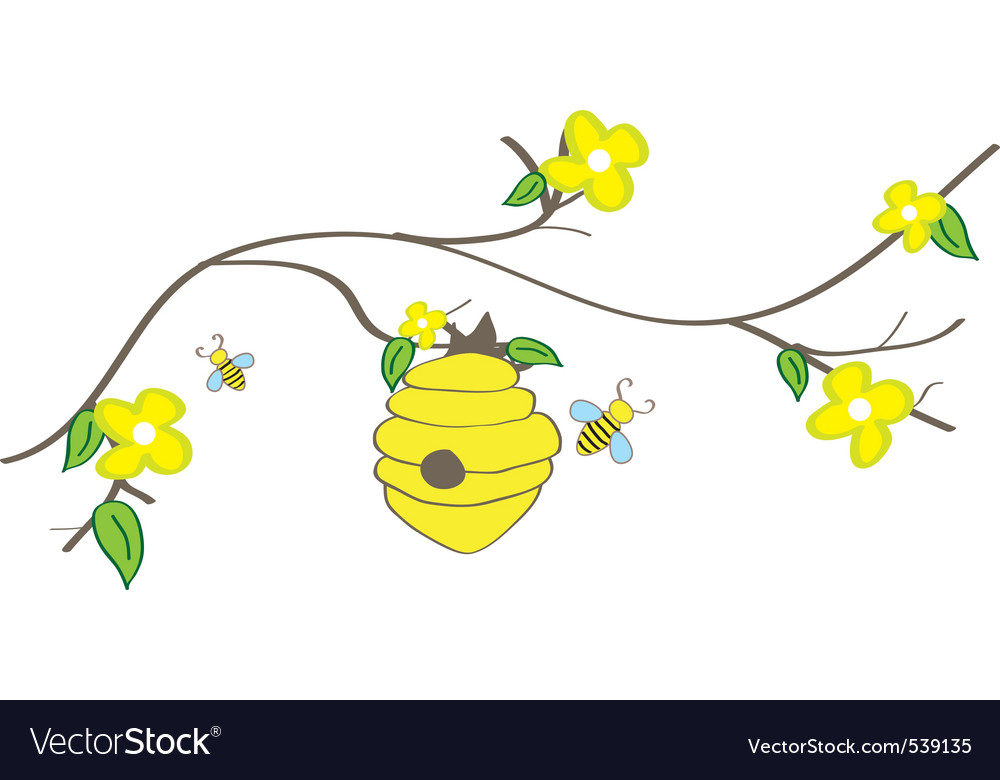 Branch with beehive vector | Price: 1 Credit (USD $1)
