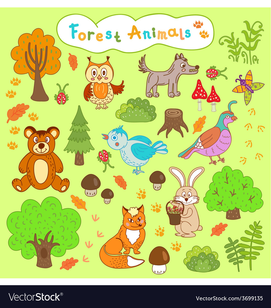 Children is drawings forest animals vector | Price: 1 Credit (USD $1)