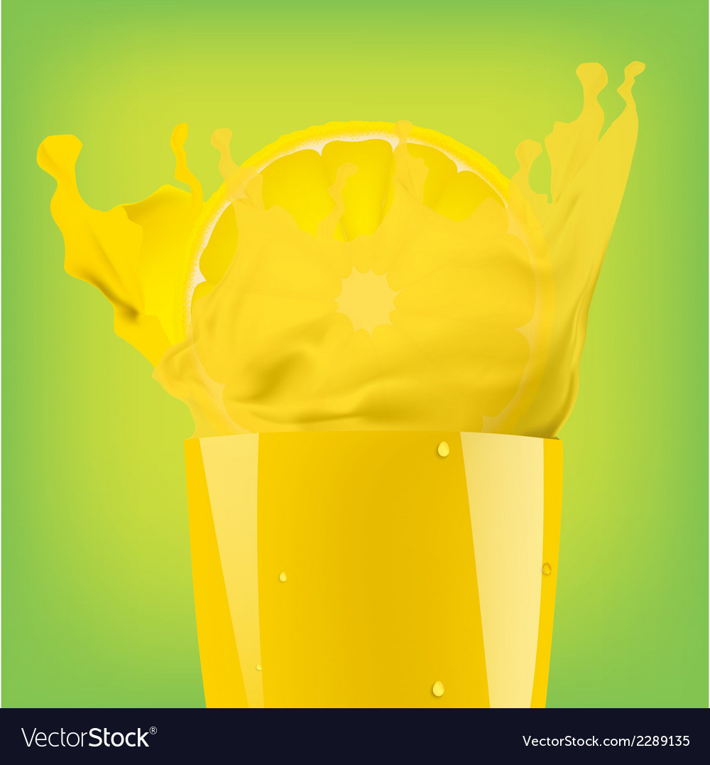 Falling piece of lemon in a glass of juice vector | Price: 1 Credit (USD $1)