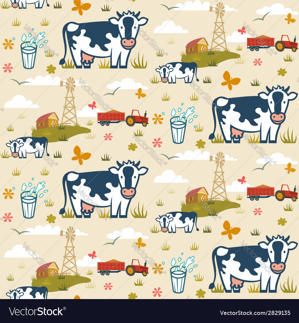 Farm cows seamless pattern vector | Price: 1 Credit (USD $1)
