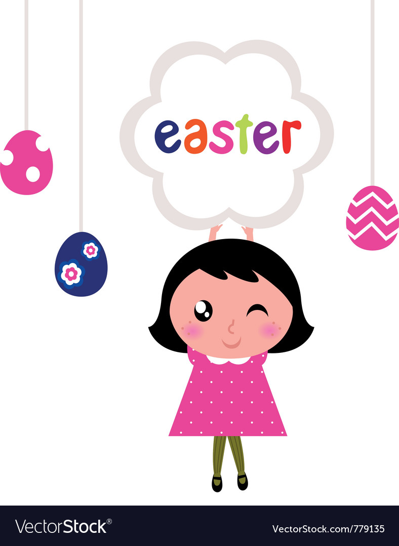 Girl holding easter banner vector | Price: 1 Credit (USD $1)