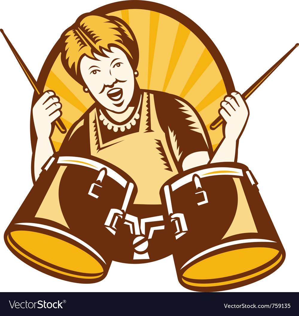 Grandmother plays drums vector | Price: 1 Credit (USD $1)