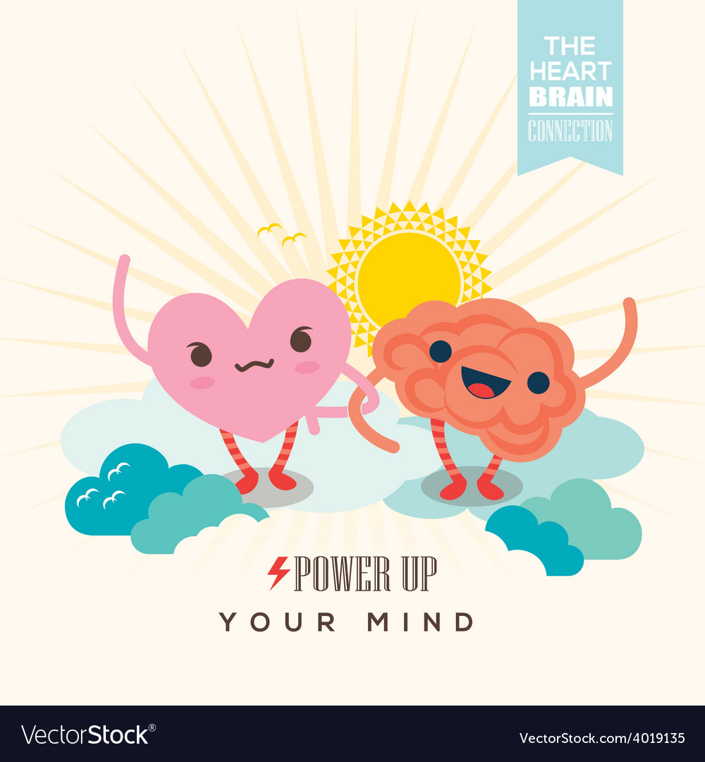 Heart and brain cartoon character holding hands vector | Price: 1 Credit (USD $1)