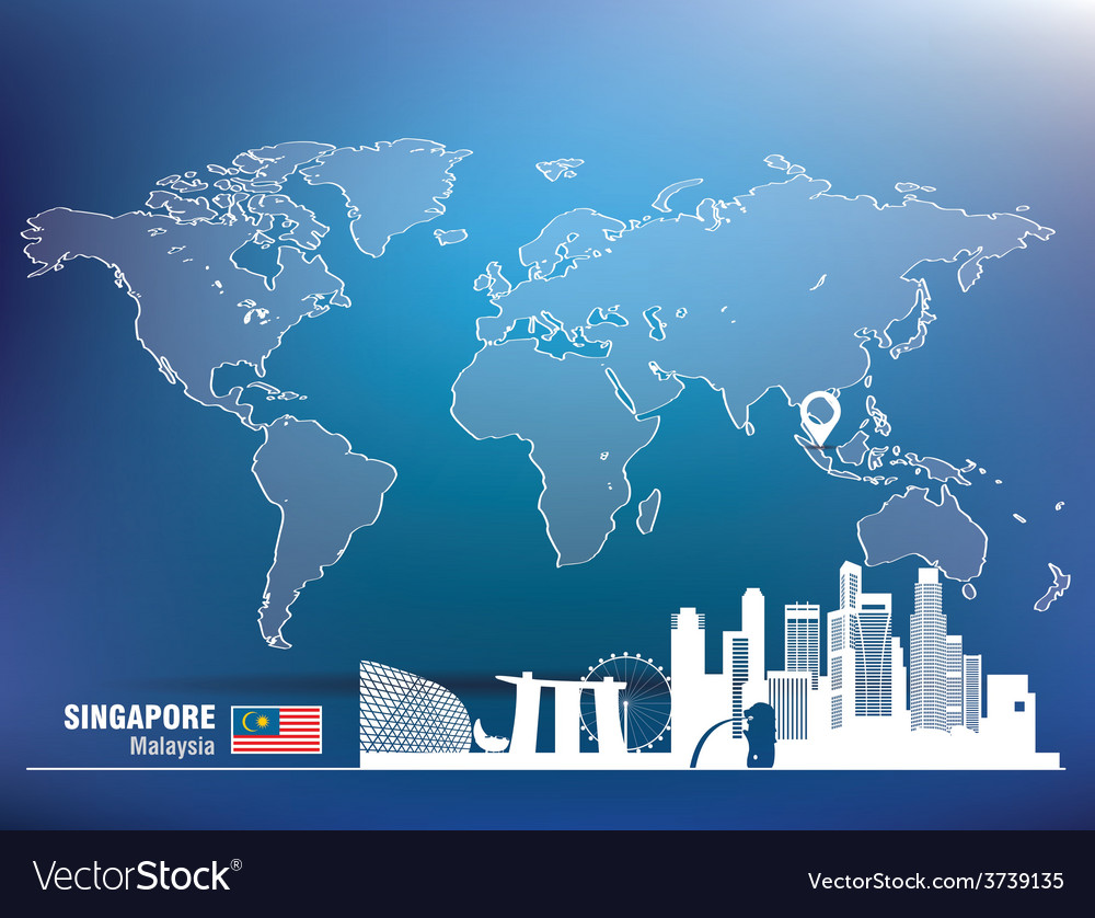 Map pin with singapore skyline vector | Price: 1 Credit (USD $1)