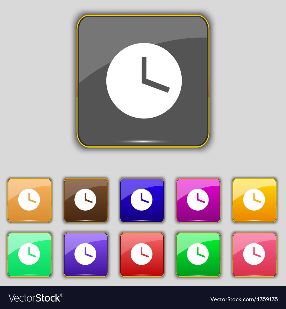 Mechanical clock icon sign set with eleven colored vector | Price: 1 Credit (USD $1)