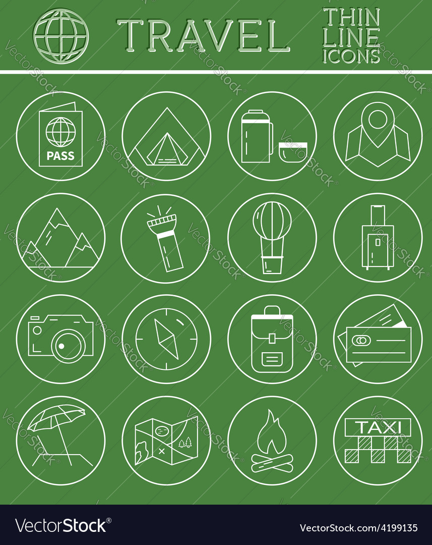 Outlined holidays and travels icon set collection vector   Price: 1 Credit (USD $1)