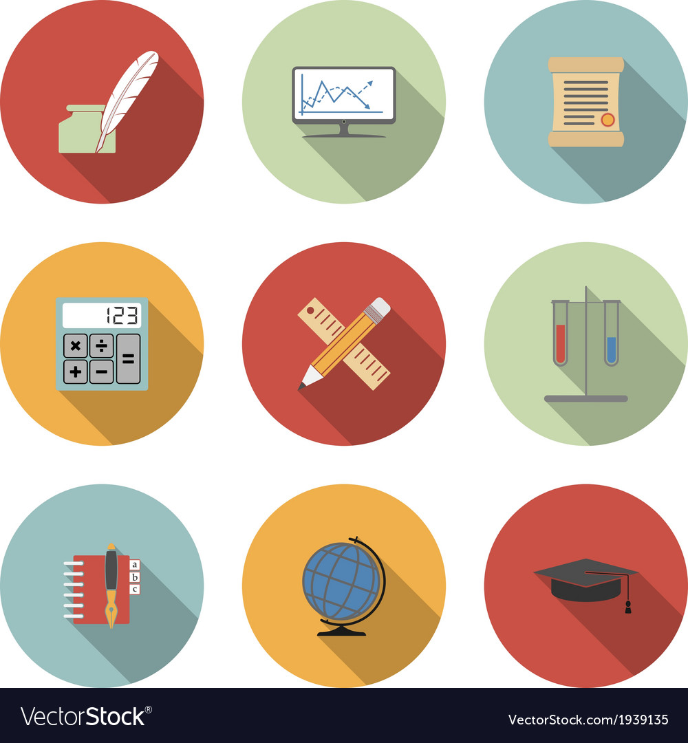 School and education flat icons set vector | Price: 1 Credit (USD $1)