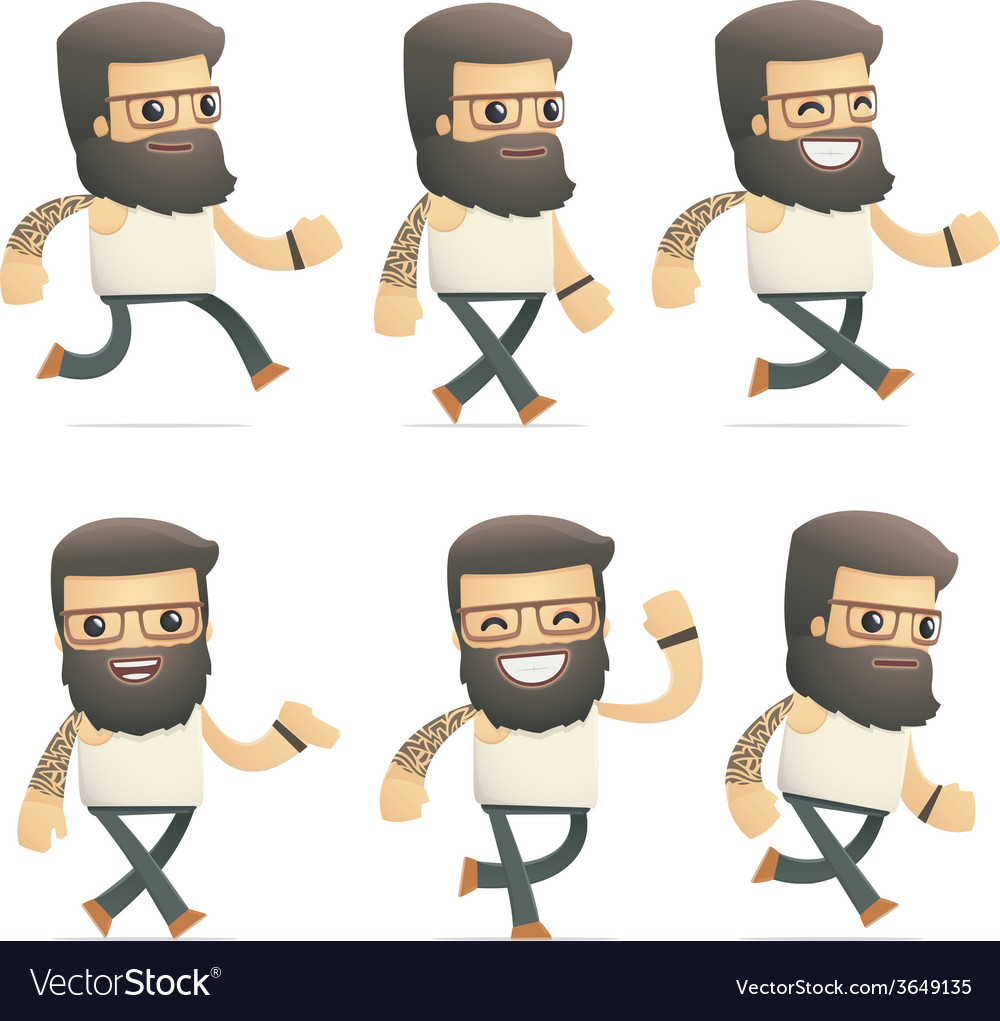 Set of tattoo artist character in different poses vector | Price: 3 Credit (USD $3)