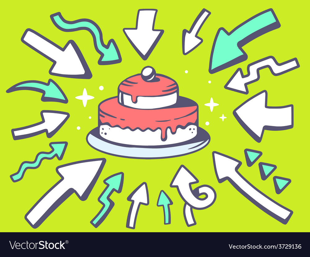 Arrows point to icon of home cake on gre vector | Price: 1 Credit (USD $1)