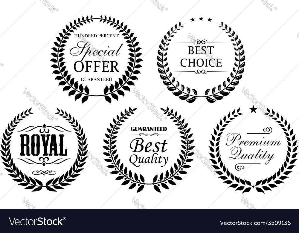 Black laurel wreath labels icon set vector | Price: 1 Credit (USD $1)