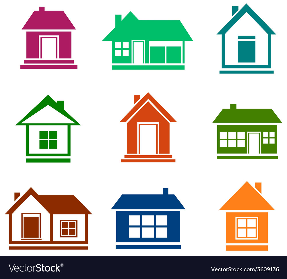 Colorful cottage set vector | Price: 1 Credit (USD $1)