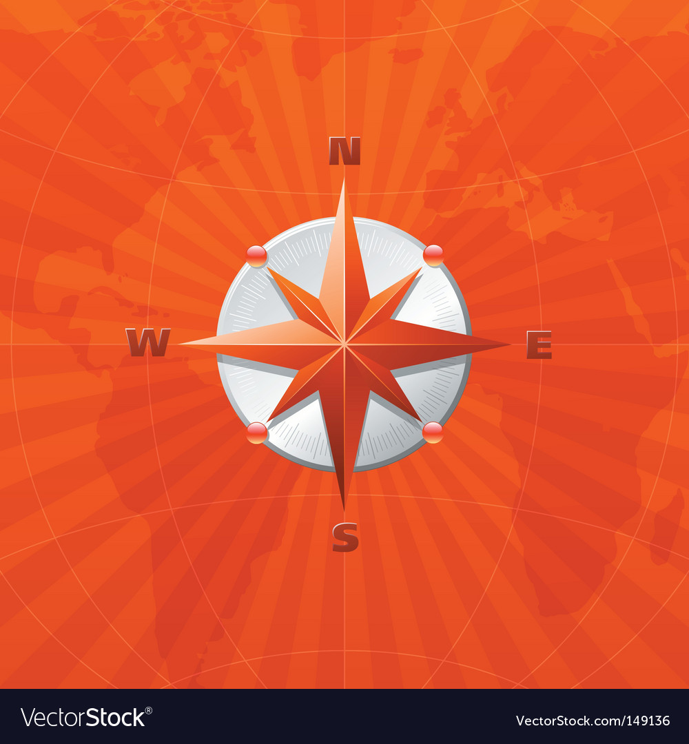 Compass on world map vector | Price: 1 Credit (USD $1)