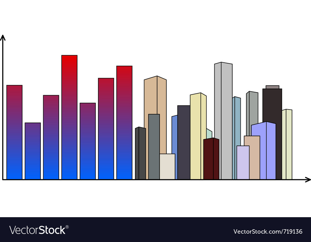 Diagram with skyscrapers vector | Price: 1 Credit (USD $1)