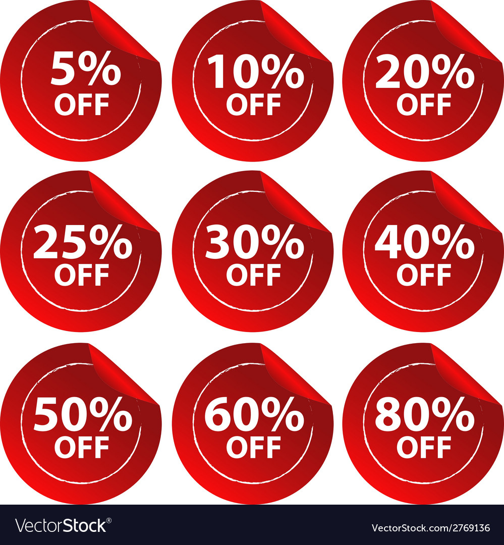 Discount stickers vector | Price: 1 Credit (USD $1)