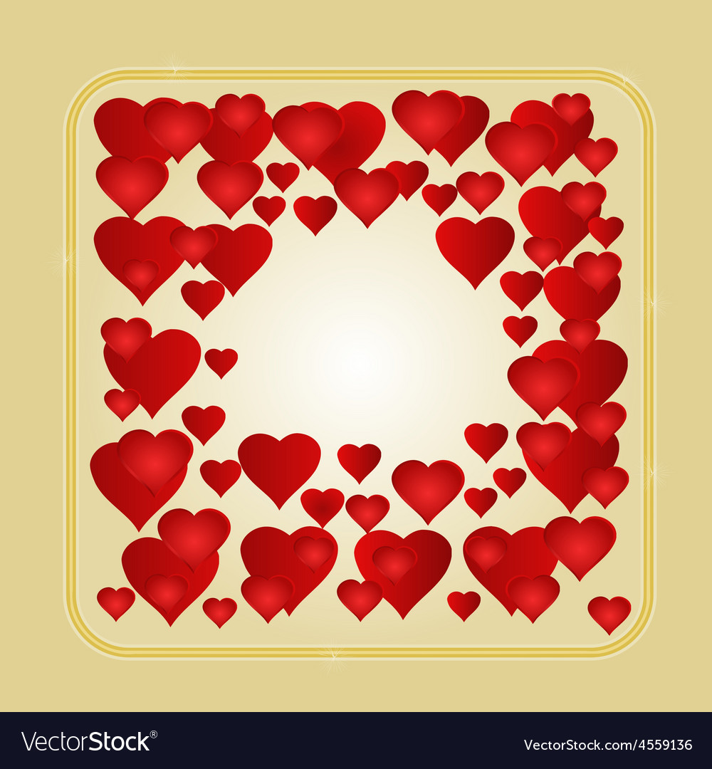 Frame with red hearts greeting card festive vector | Price: 1 Credit (USD $1)