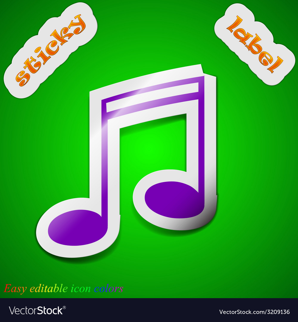 Music note icon sign symbol chic colored sticky vector   Price: 1 Credit (USD $1)
