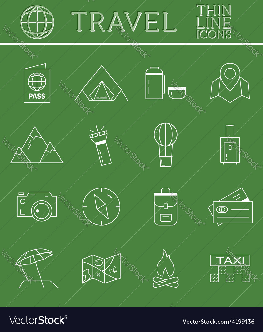 Outlined holidays and travels icon set collection vector | Price: 1 Credit (USD $1)