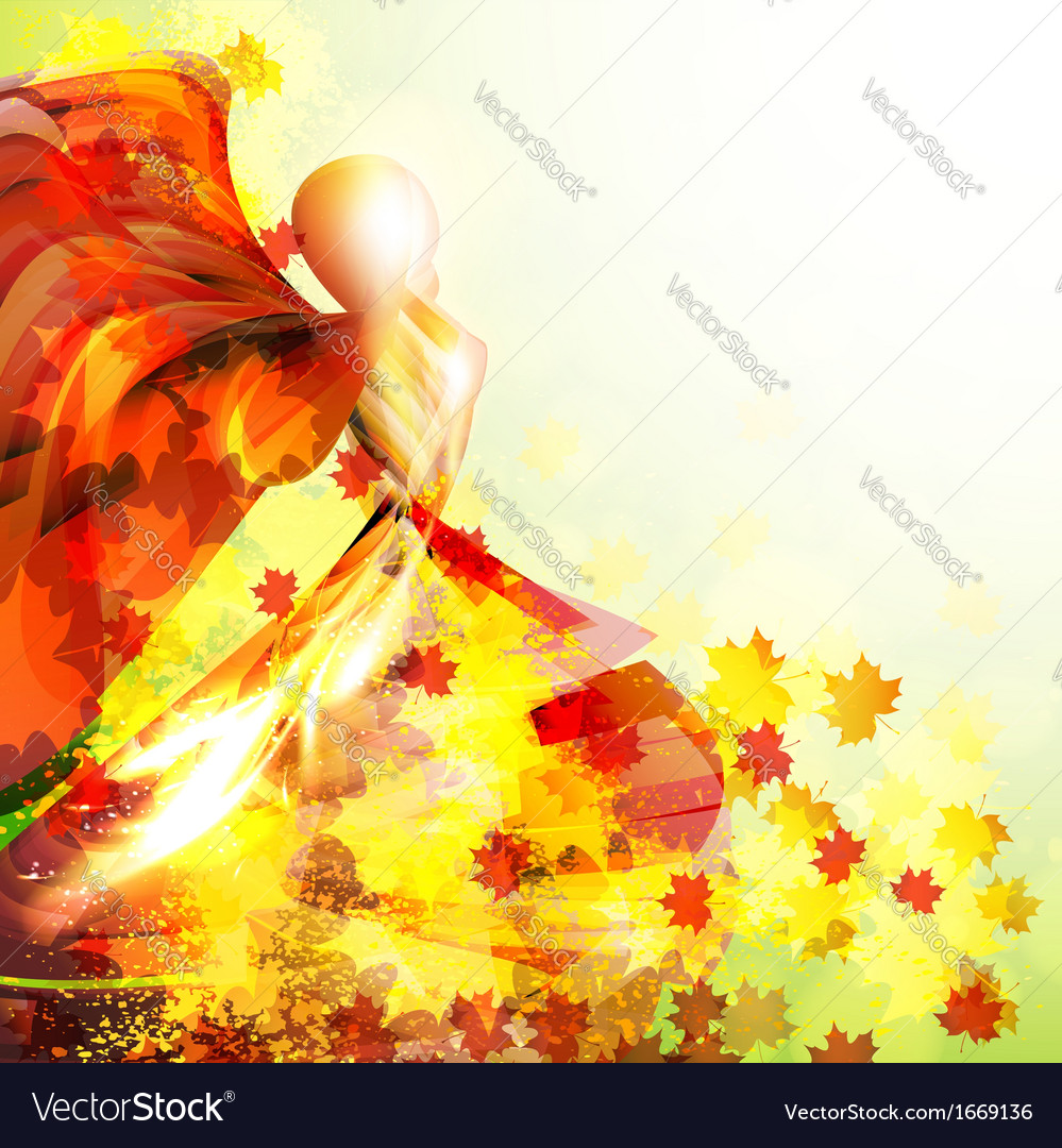 Silhouette of the woman dancing in the autumn vector | Price: 1 Credit (USD $1)