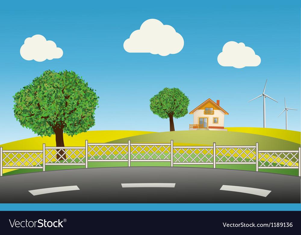 Spring landscape vector | Price: 1 Credit (USD $1)