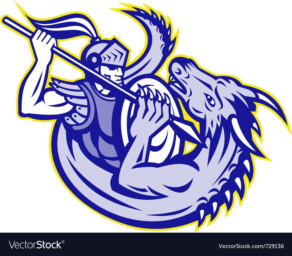 St george knight fighting a dragon vector | Price: 1 Credit (USD $1)