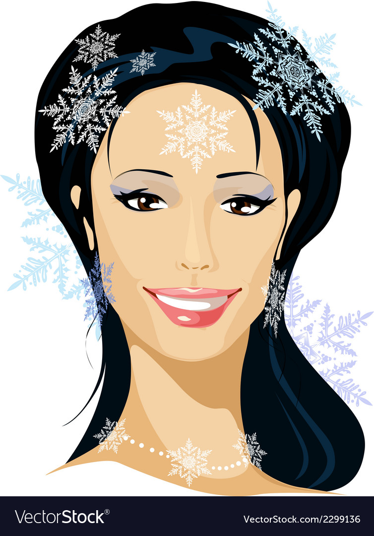 Winter beautiful woman portrait vector | Price: 1 Credit (USD $1)