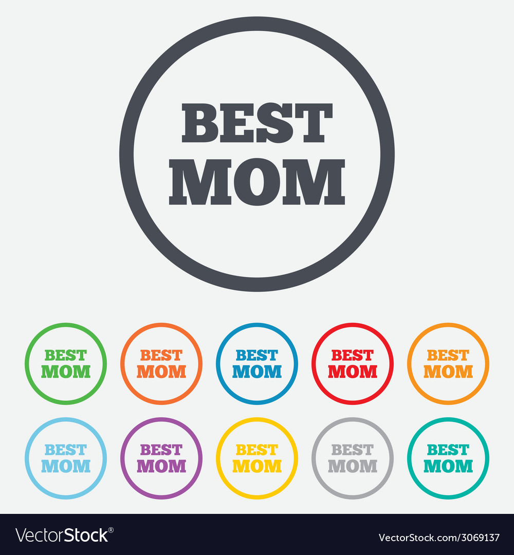 Best mom sign icon award symbol vector | Price: 1 Credit (USD $1)