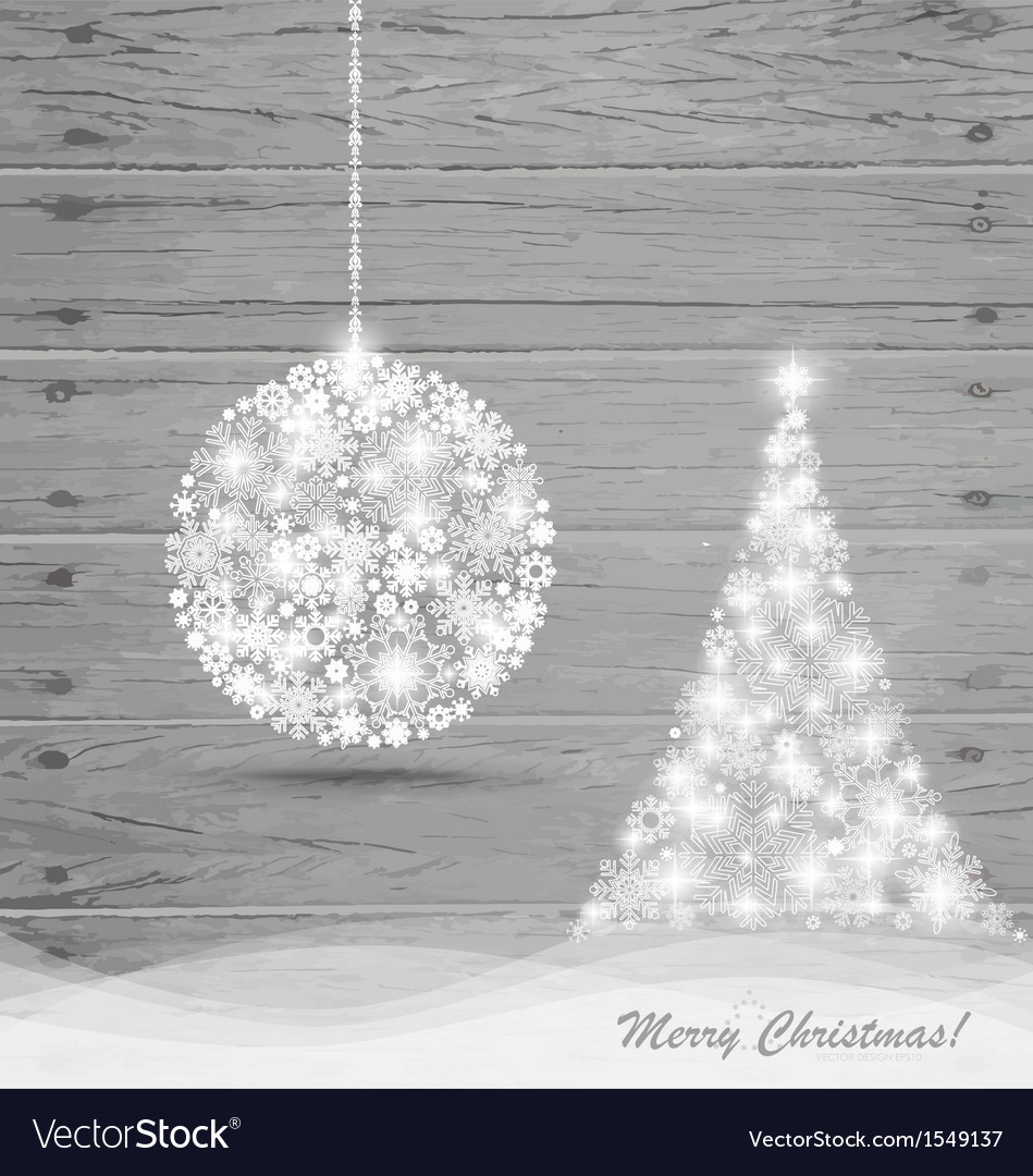 Christmas ball and christmas tree with snowflakes vector | Price: 1 Credit (USD $1)