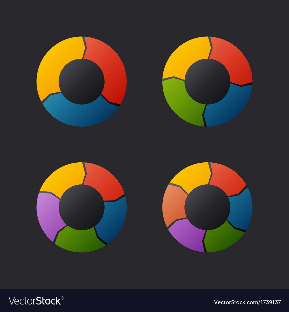 Circular chart template set vector | Price: 1 Credit (USD $1)