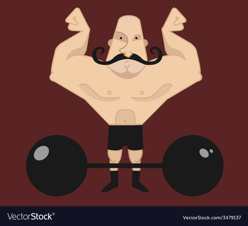 Circus athlete with mustaches with barbell vector | Price: 1 Credit (USD $1)