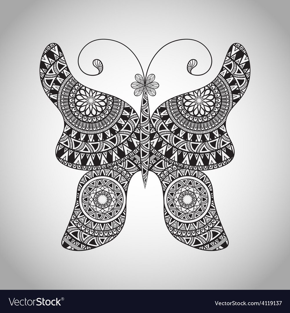 Doodle butterfly tattoo sketch vector | Price: 1 Credit (USD $1)