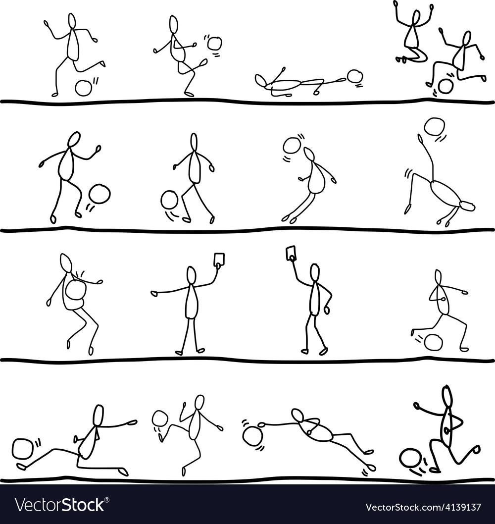 Hand drawing cartoon soccer sets vector | Price: 1 Credit (USD $1)