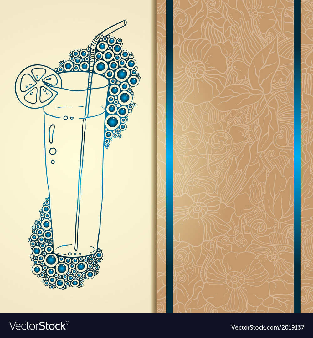 Template card with glass and bubbles vector | Price: 1 Credit (USD $1)