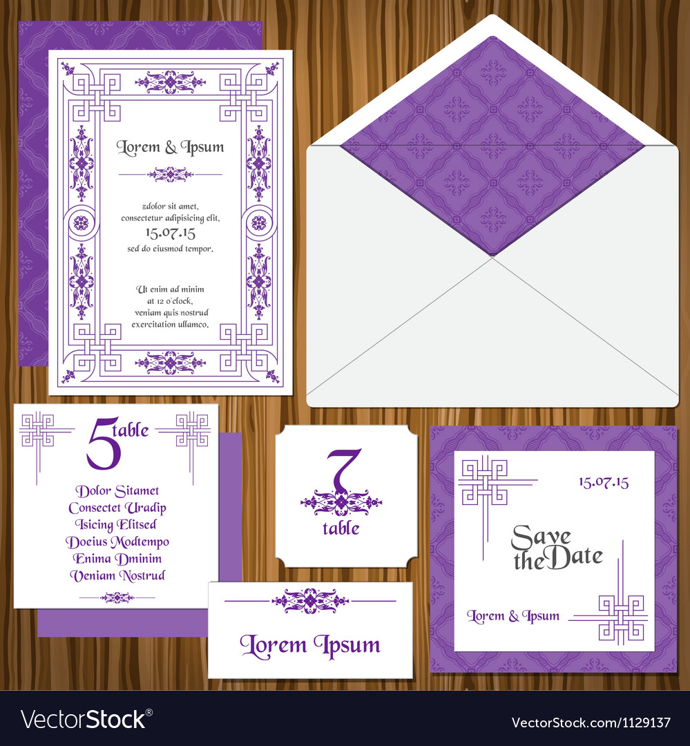 Wedding invitation card set vector | Price: 1 Credit (USD $1)