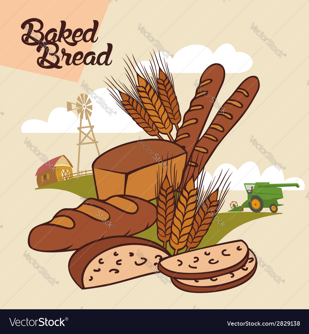Baked bread advertising vector | Price: 1 Credit (USD $1)